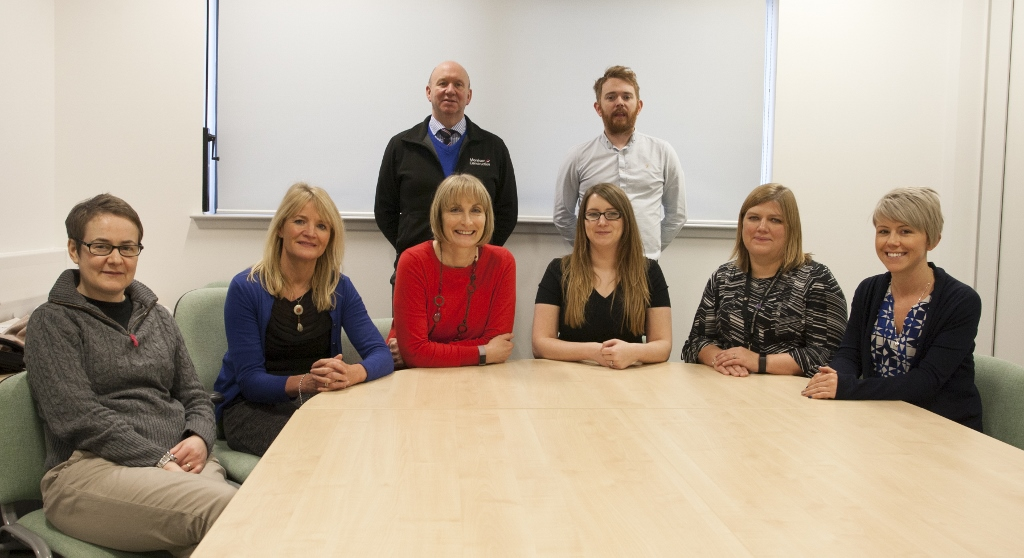 : Front Row, L-R : Hazel Fraser (Breedon Aggregate), Sally Cooper (Morrison Construction, Lynne Bowley (DYW Lead for Elgin Academy), Jade O'Hara (Robertson Northern), Maxine Scott (Moray Council) & Diane Kemp (Springfield Properties) Back Row, L - R: Alex Johnston (Morrison Construction) & John Cairns (Balfour Beatty)