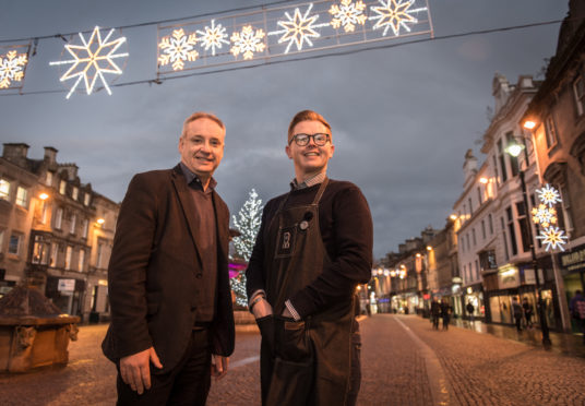 Richard Lochhead and Richard Cumming on Elgin High Street