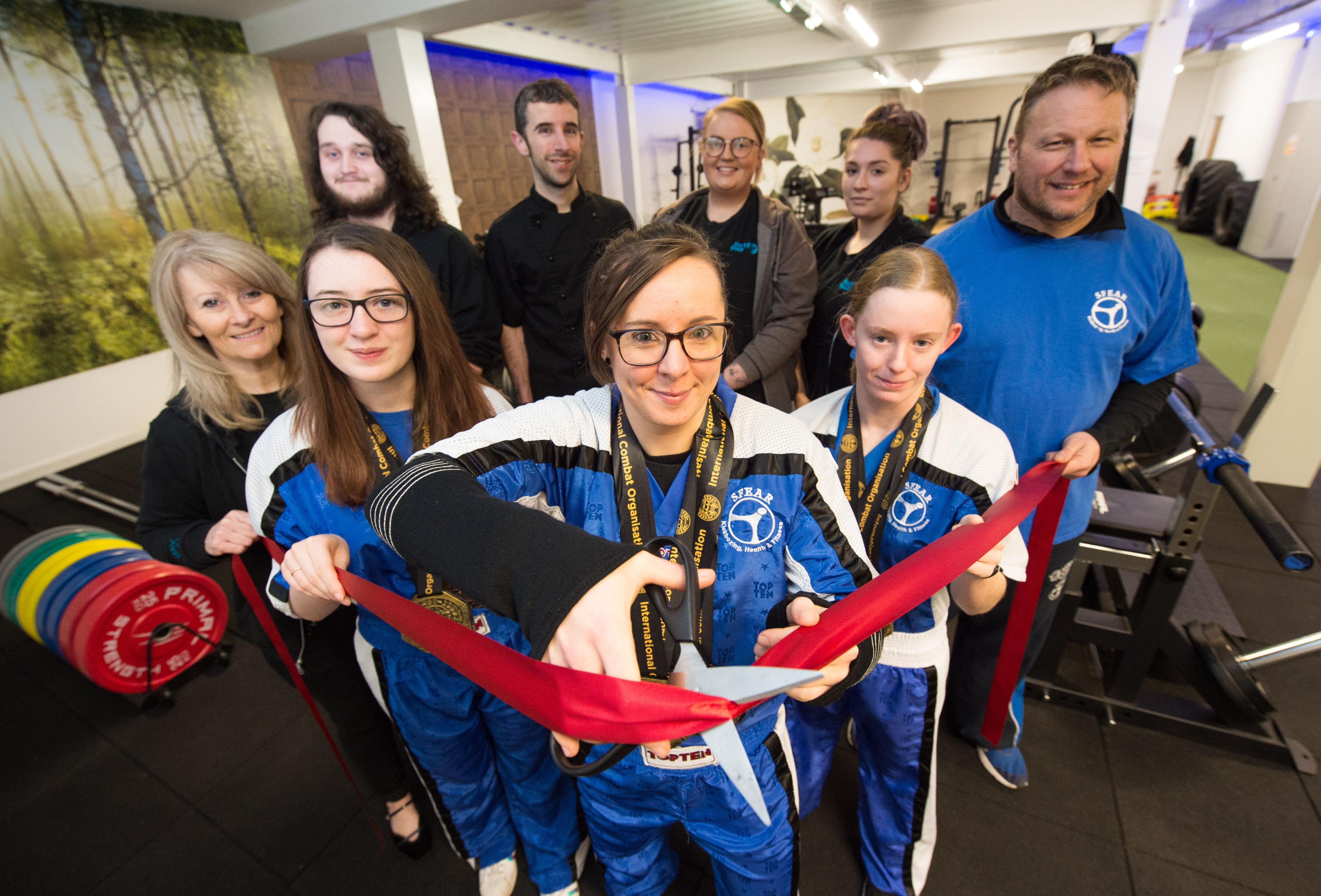 Three world champions and three world medal holders from Forty Four's Sfear kickboxing group cut the opening ribbon