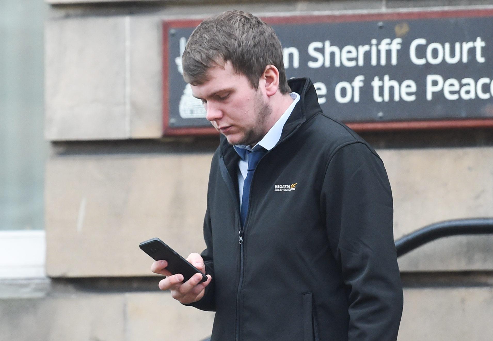 Ryan Mitchell leaving Elgin Sheriff Court