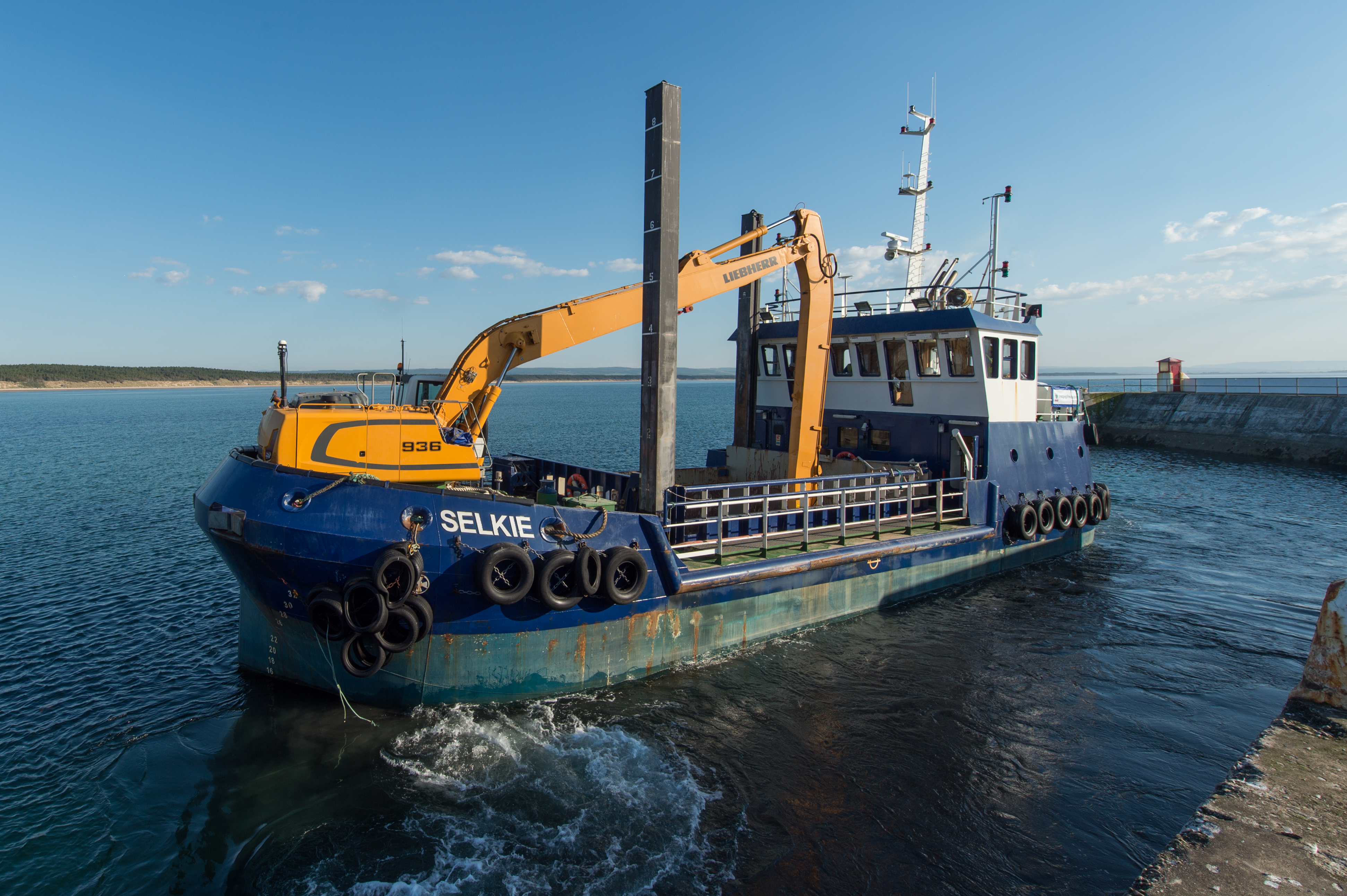 Moray Council's dredger Selkie at Burghead Harbour.