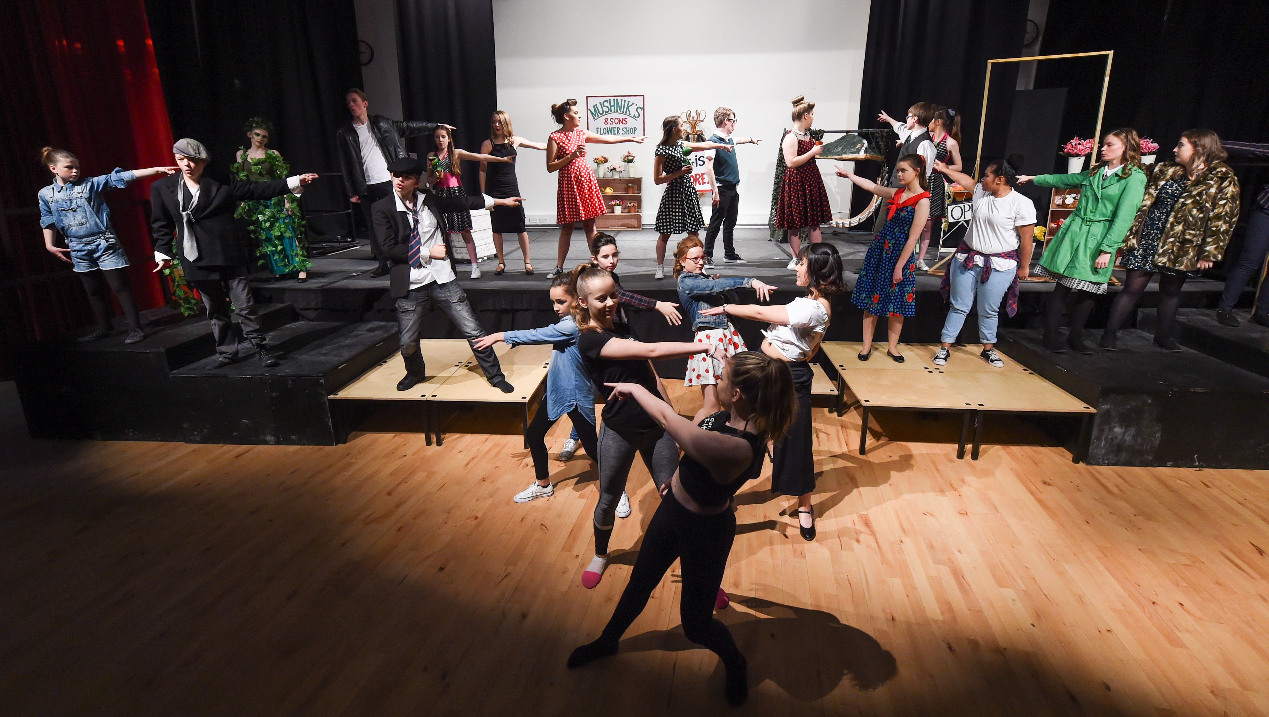 Elgin Academy students rehearse Little Shop of Horrors.