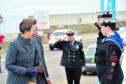 Princess Anne escorted by Lord Lieutenant James Ingleby meets Peterhead sea cadets Kyle Buchan and Isla Strachan