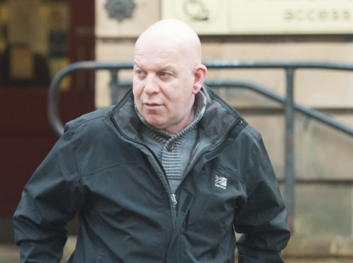Peter Thomson leaving Elgin Sheriff Court.