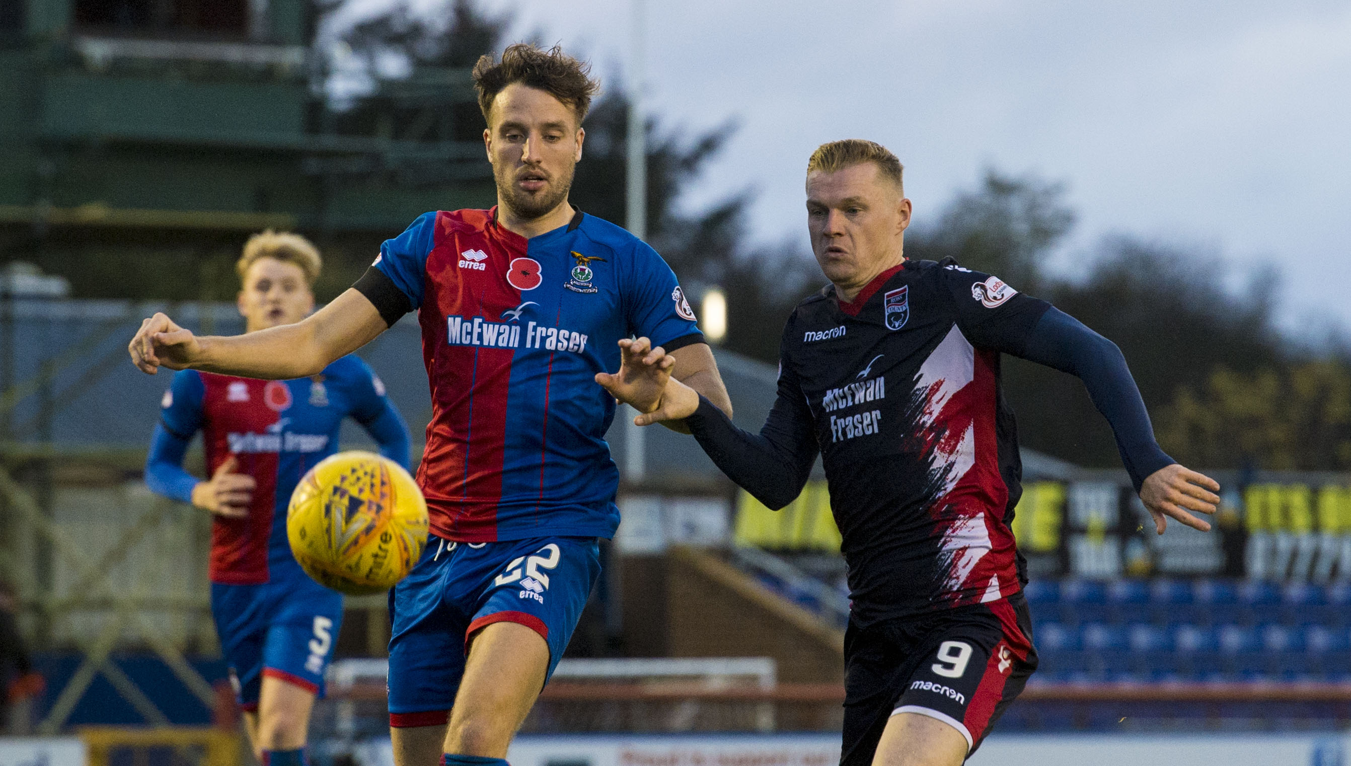 Inverness' Brad McKay (left) battles with Ross County's Billy McKay