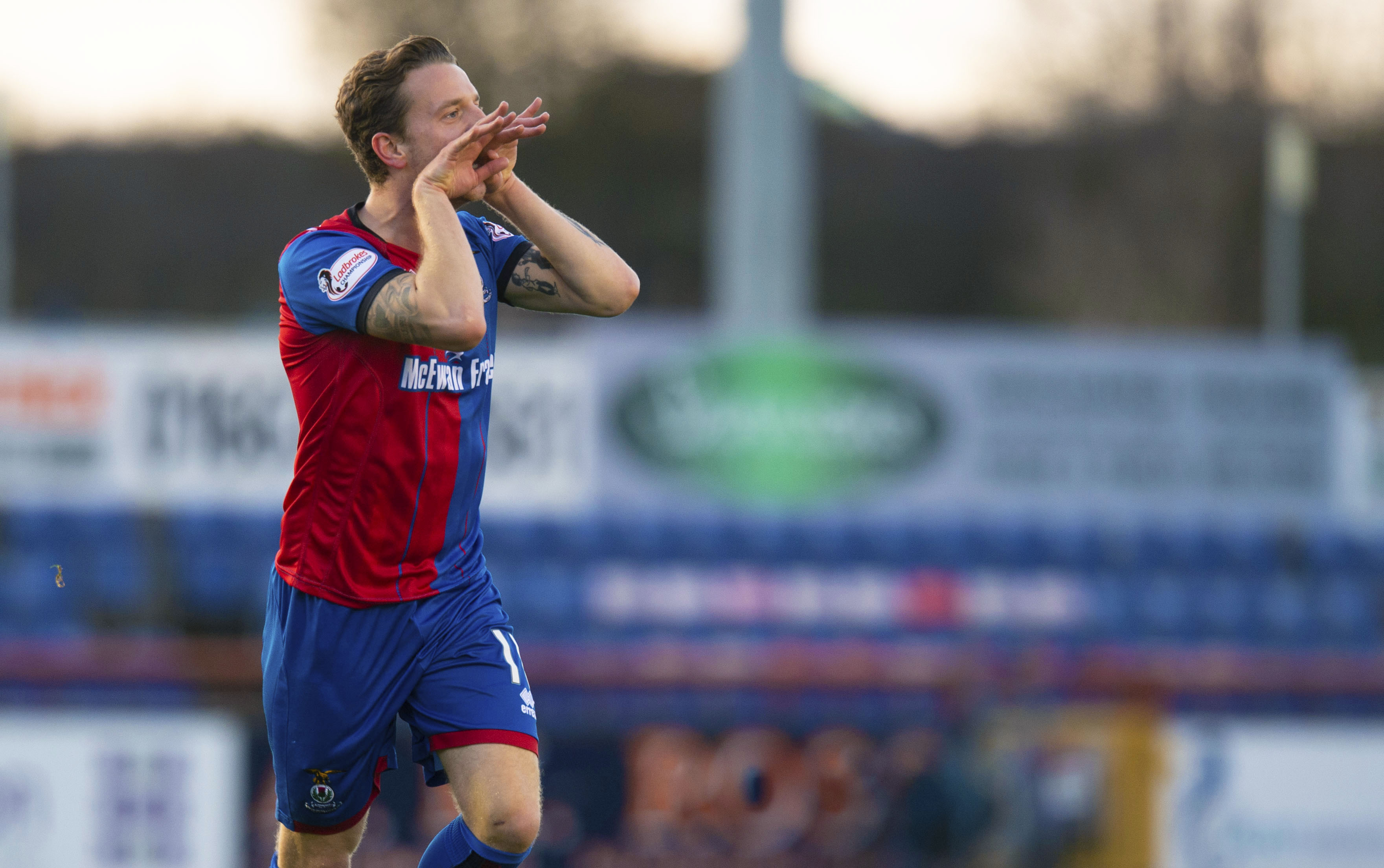 1/12/18 LADBROKES CHAMPIONSHIP INVERNESS CT v FALKIRK TULLOCH CALEDONIAN STADIUM - INVERNESS Inverness' Tom Walsh celebrates giving his side the lead.