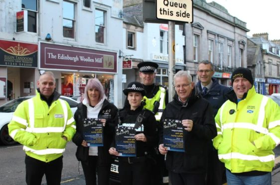Brent Johnson, Saltaire Security; Moira Spence, 2-4-7 Cars; Constable Lisa Short; Constable Gary Campbell; Moray Council's Community Safety Officer Willie Findlay; Constable Chris Page and Steven Robertson, Saltaire Security.