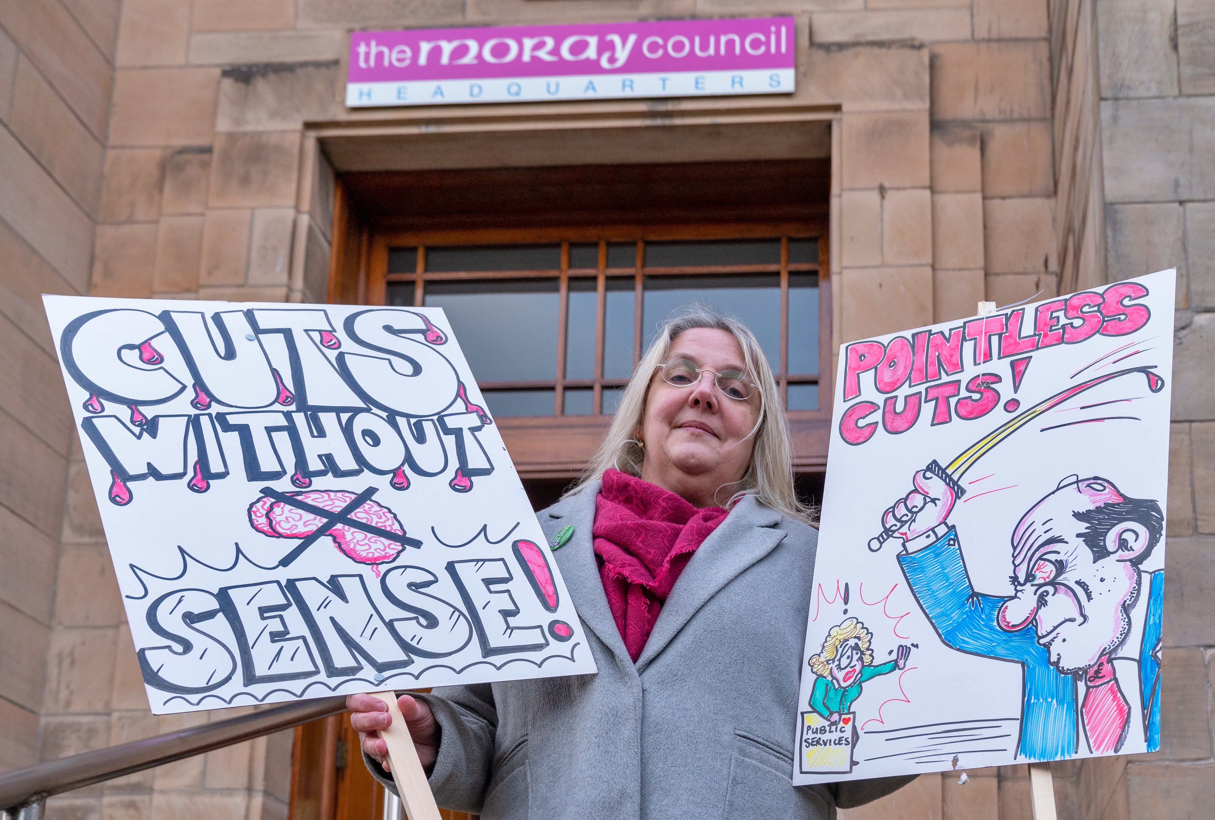 Suzanne Wright of Unison Scotland at protest over budget cuts outside Moray Council HQ.