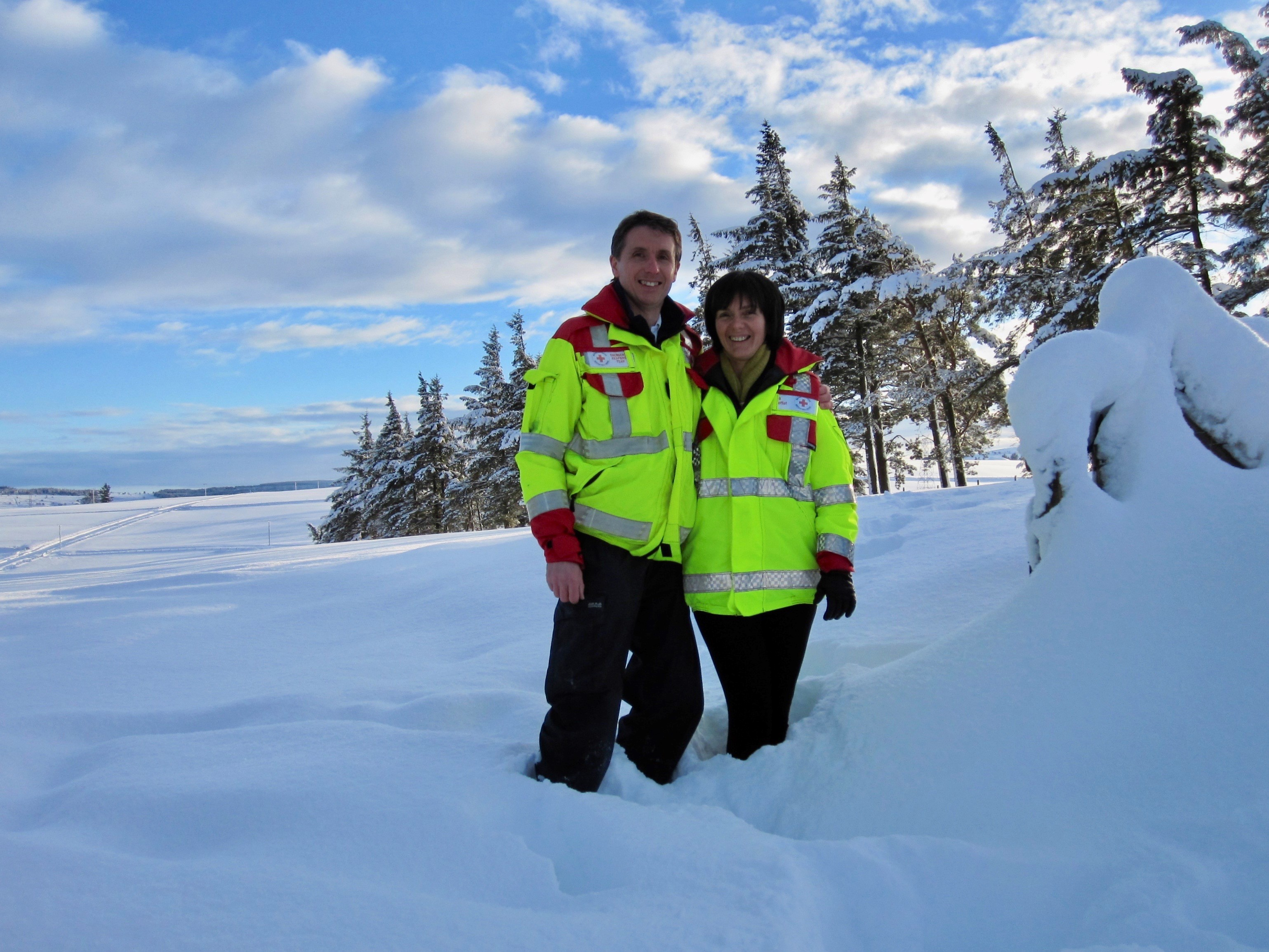 Colin Moffat and wife Gill in January 2010 responding in Keith, Aberdeenshire to severe snow conditions.