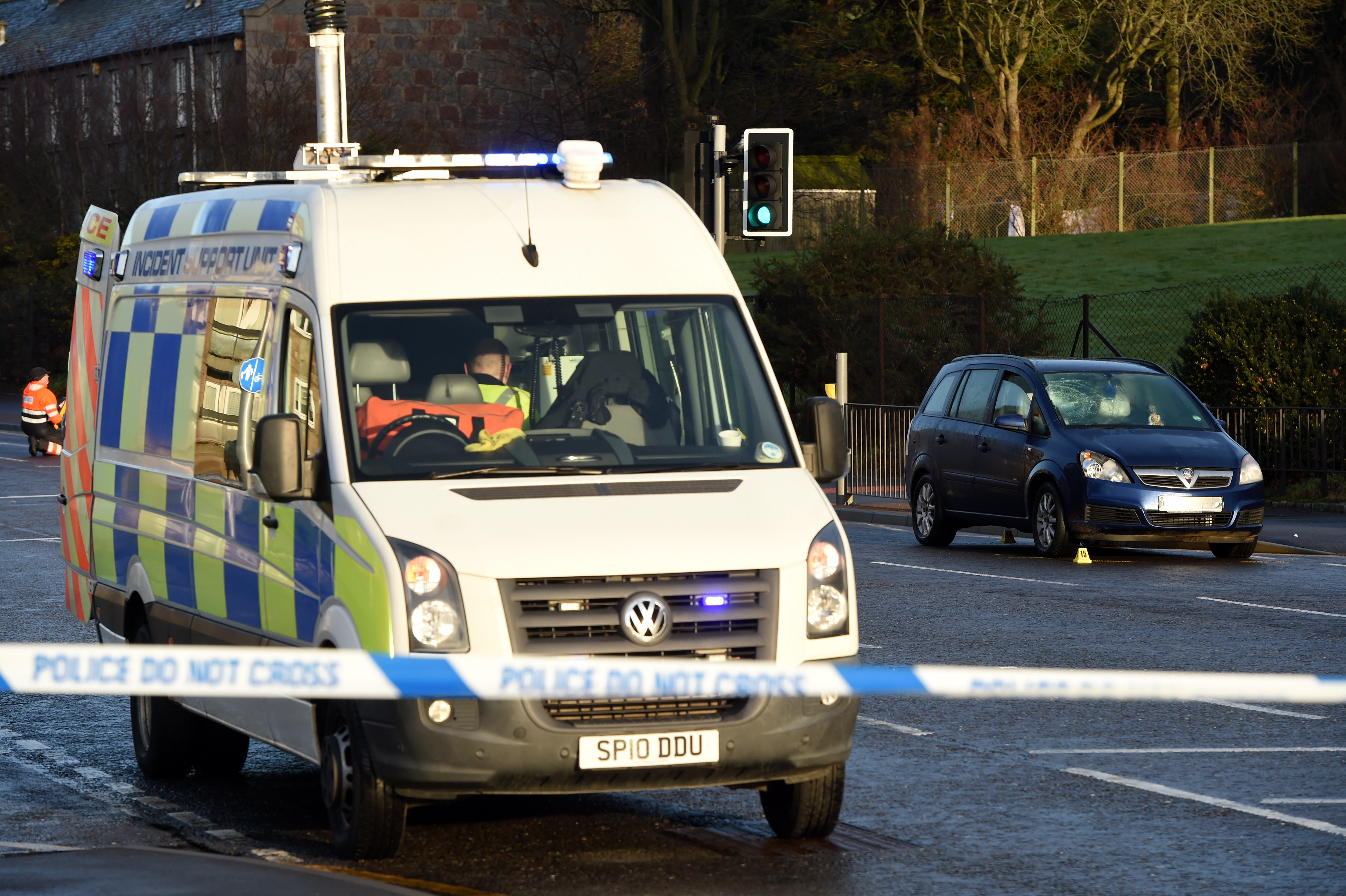 Police Scotland at the scene of a Road Traffic Collision (RTC), a woman has been hit by a car on Tillydrone Avenue, Aberdeen.  Picture by Kenny Elrick.