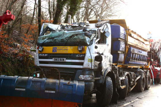 The gritter before it was towed, earlier today. Picture by Kevin McGlynn.