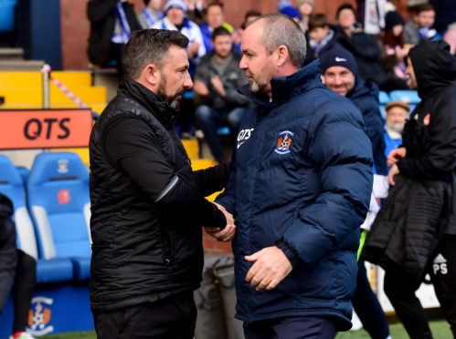 Derek McInnes and Kilmarnock boss Steve Clarke