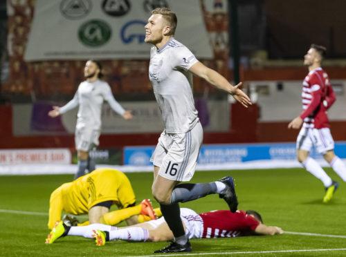 Aberdeen's Sam Cosgrove celebrates his second goal against Hamilton.
