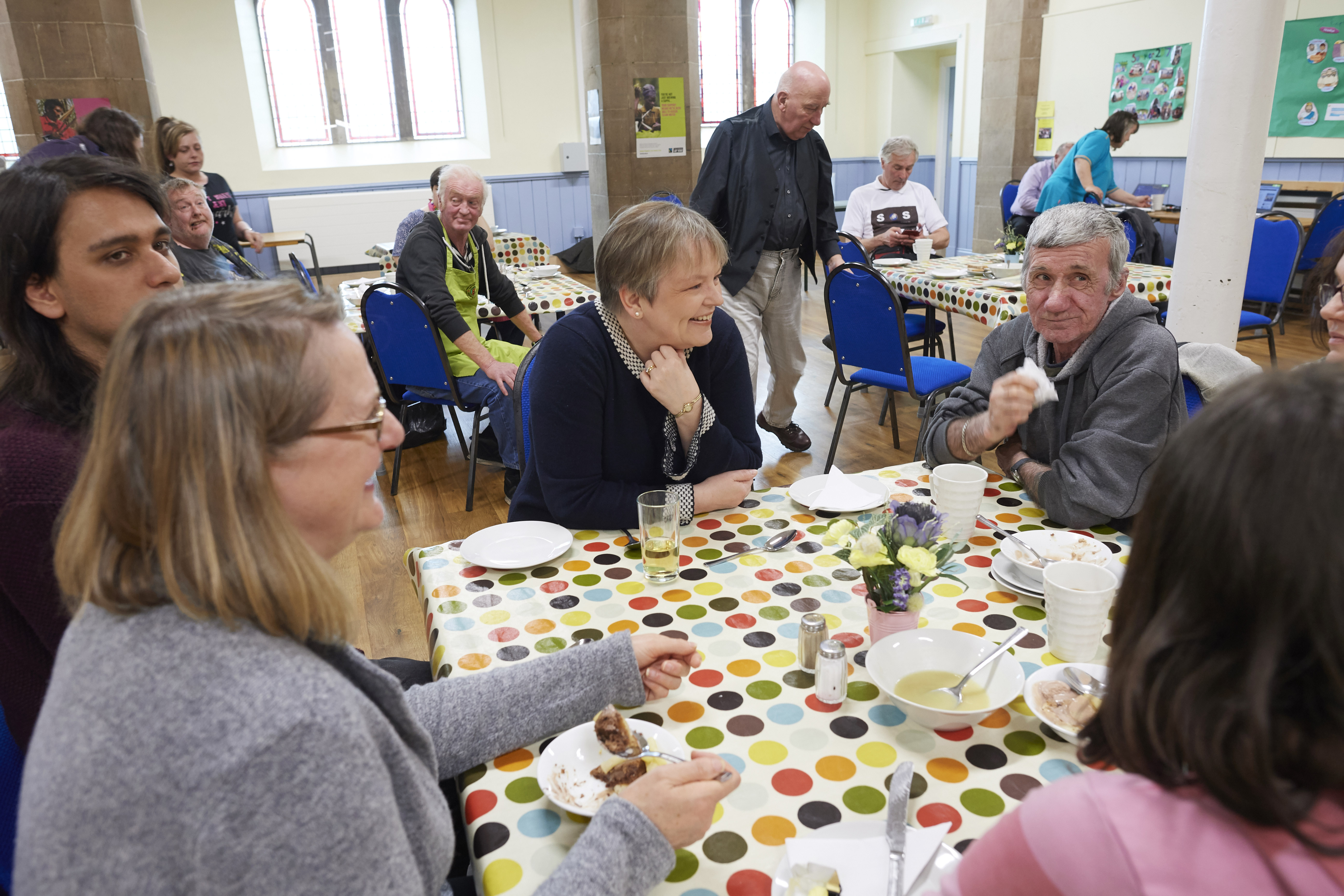 Residents attending Inverness Foodstuff at Ness Bank Church of Scotland before lockdown.