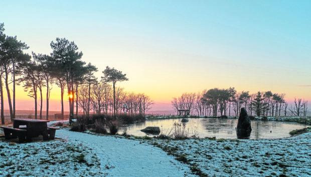 A January sunset at the Hill of Maunderlea Aberchirder. Taken by Bill Thain, from Macduff.