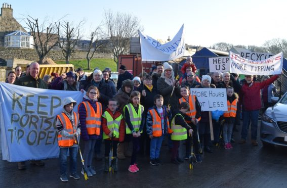 Campaigners outside Portsoy waste and recycling centre when it was due to be closed.