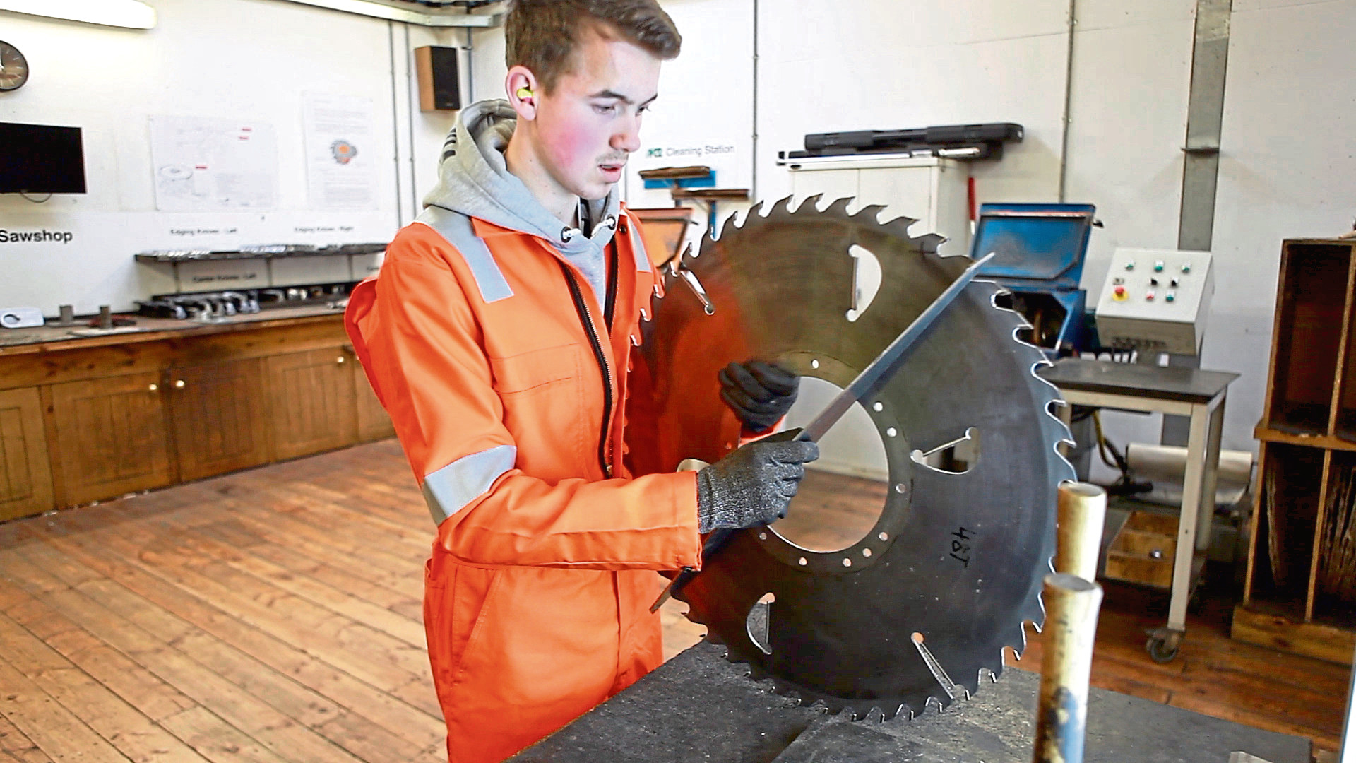 Padraig McNeil, an apprentice saw doctor with BSW Timber Group in Fort William