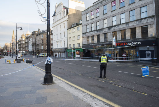 The scene at the Taxi Rank in Dundee's Nethergate.