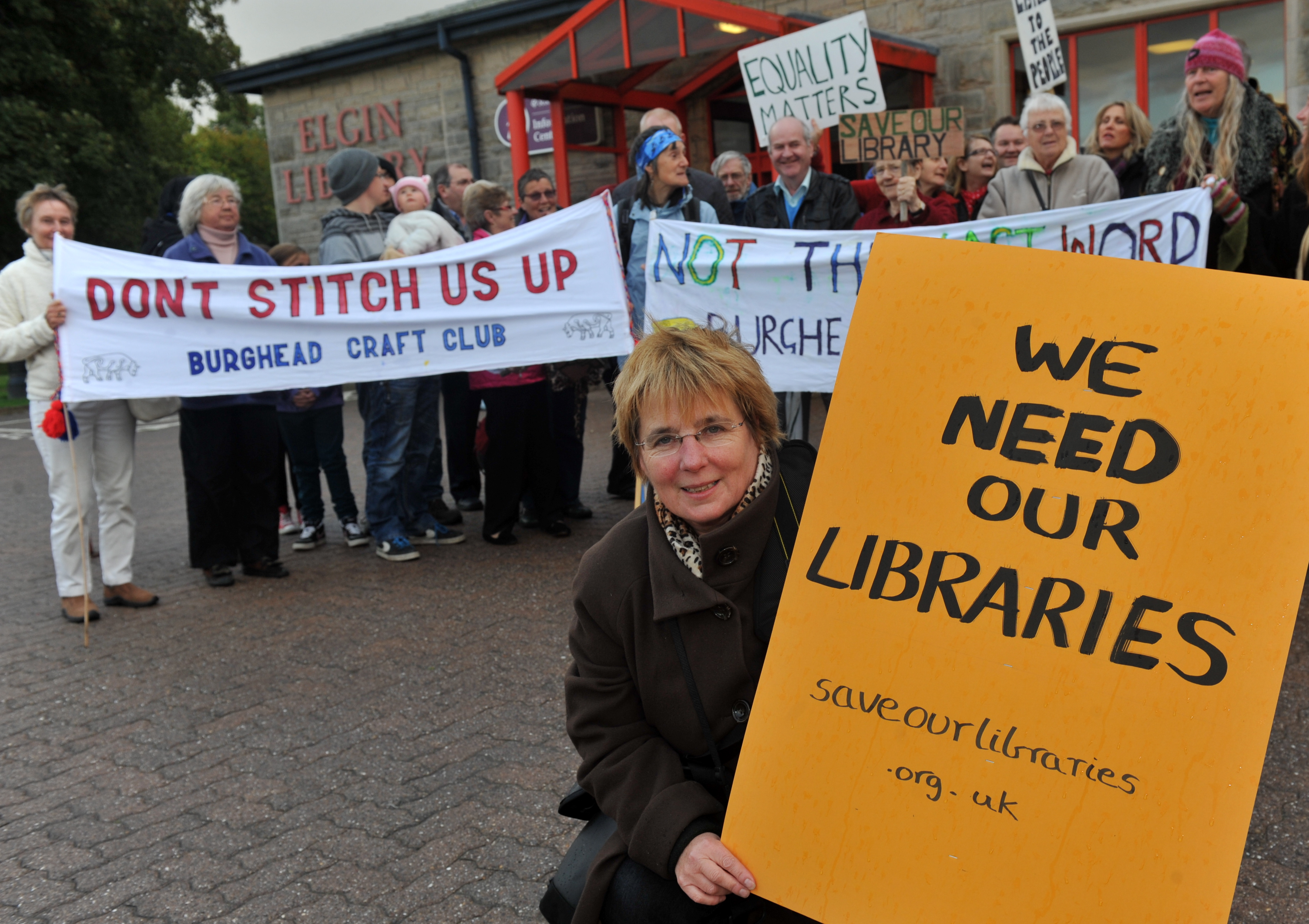 Campaigners pressed to save libraries across Moray in 2013.
