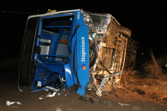 The bus which left the road in the Highlands this evening