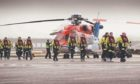 Offshore workers at Aberdeen heliport