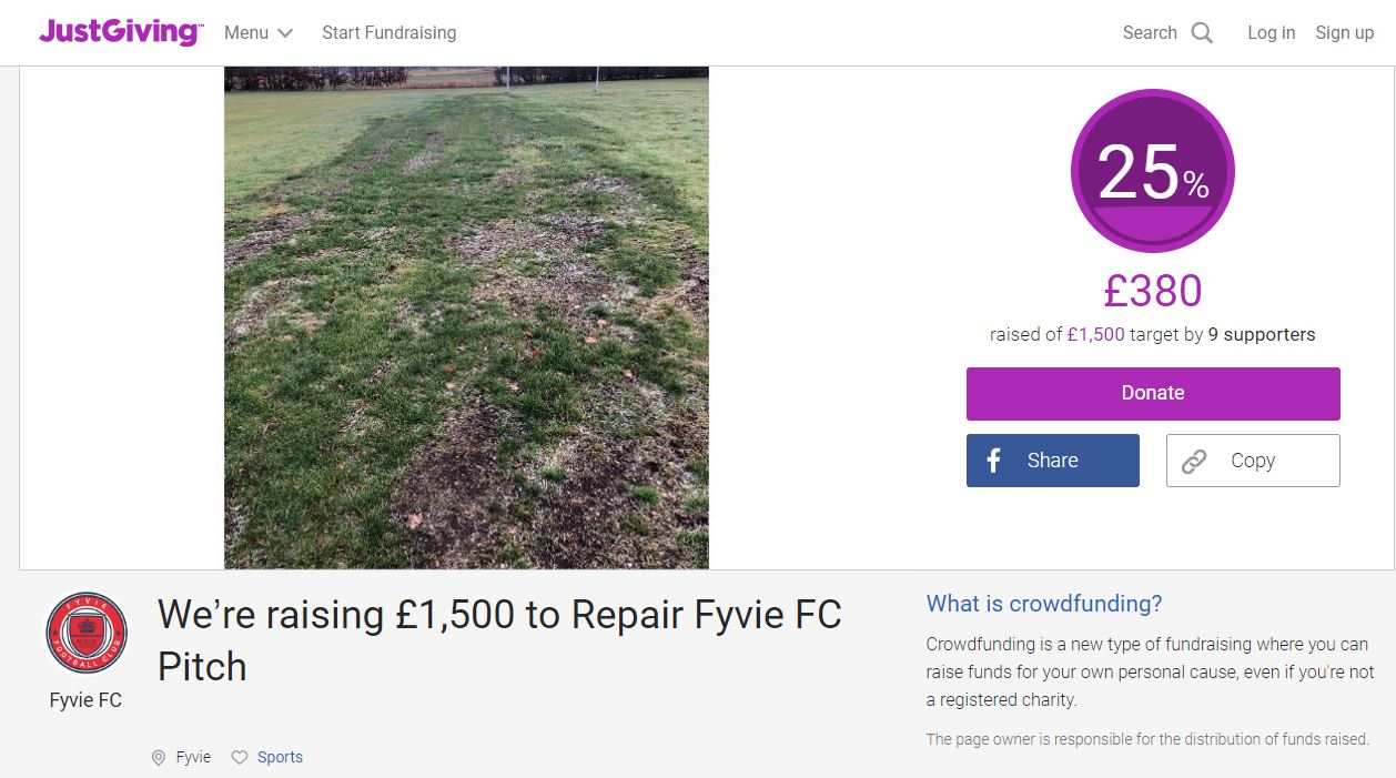 A screenshot of the football club's JustGiving page.
