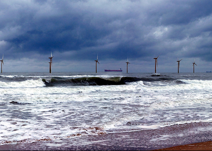 The European Offshore Wind Deployment Centre (EOWDC) from Balmedie Beach (artists impression)