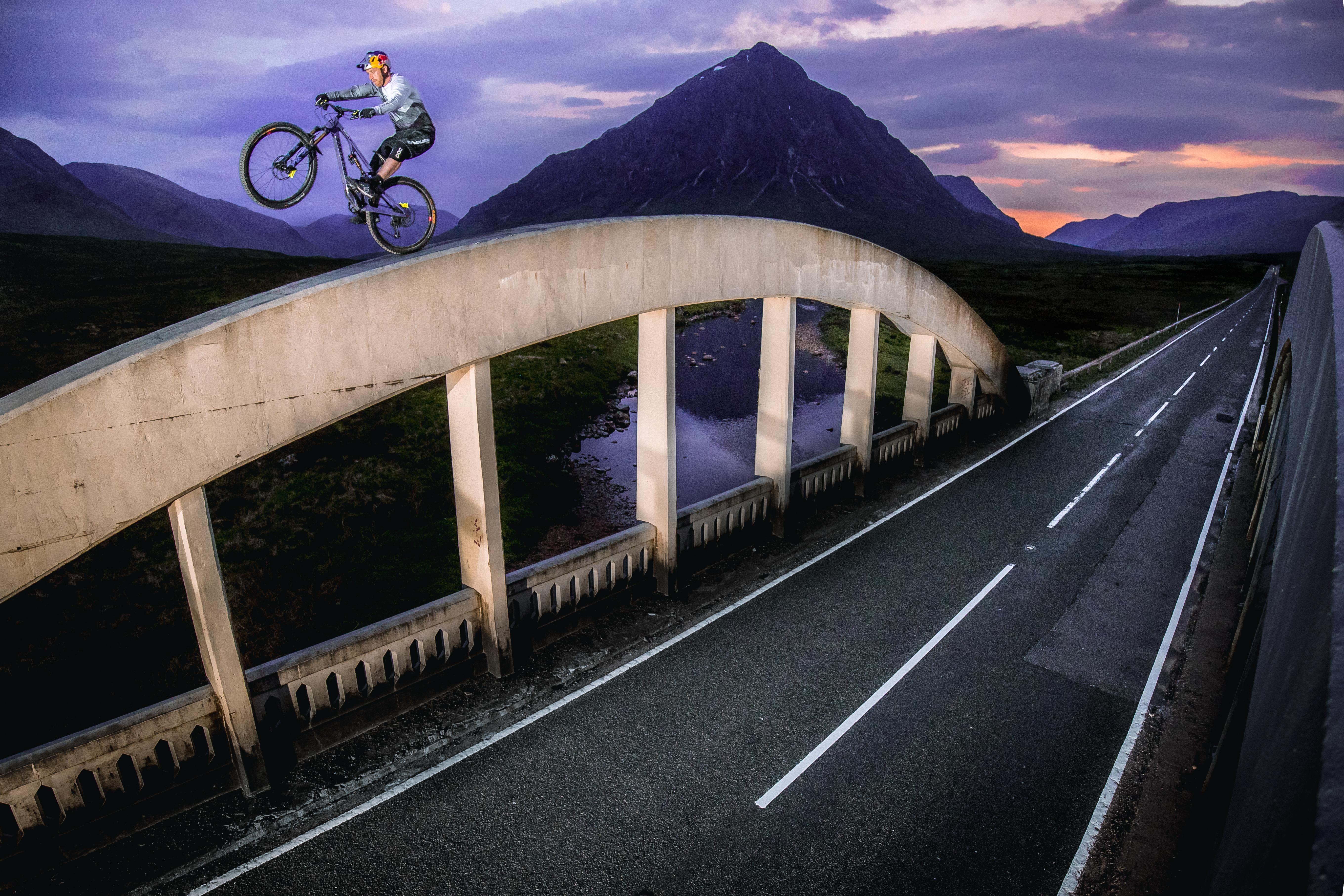 Danny MacAskill on top of the bridge in Glencoe