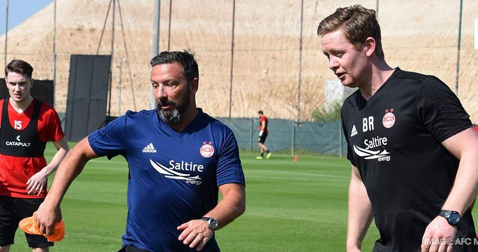 Manager Derek McInnes and first-team coach Barry Robson in training in Dubai. Picture: AFC Media.