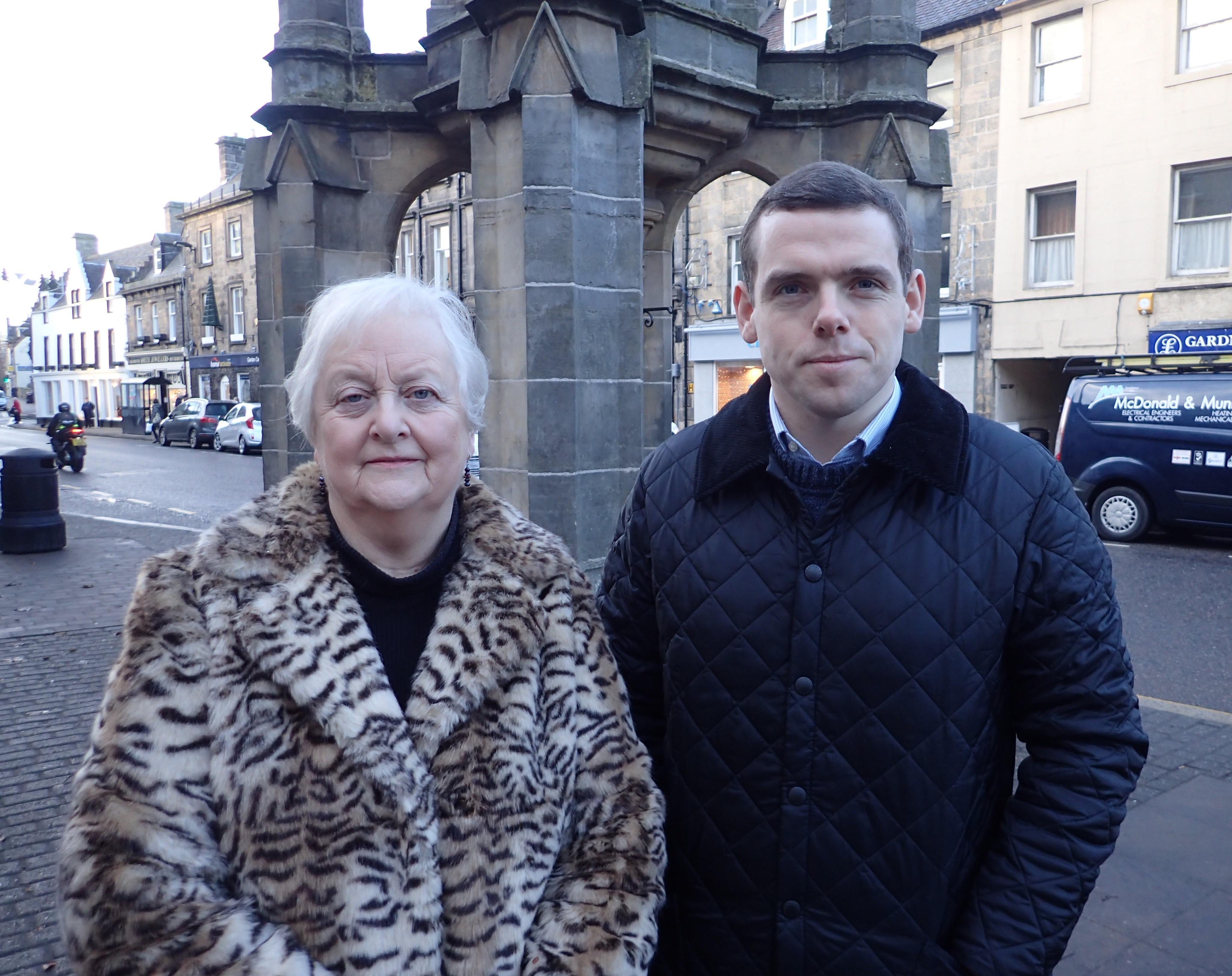Douglas Ross with Forres Community councillor Eleanor Hayward