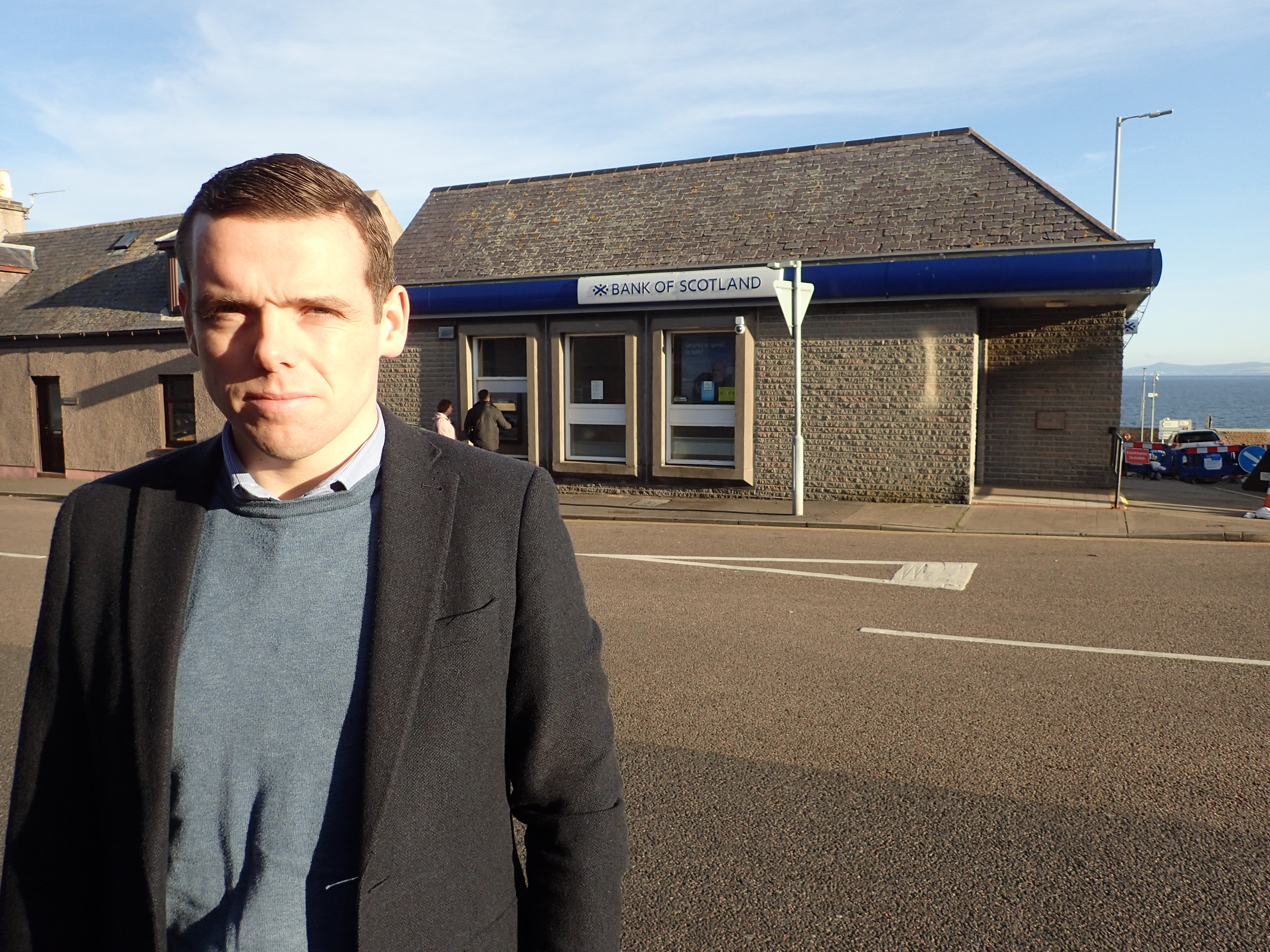 Douglas Ross at Lossiemouth Bank of Scotland