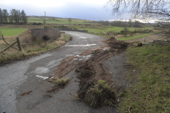 The location showing where a school bus came off the road on the B9170 near Turriff. Picture by Kath Flannery