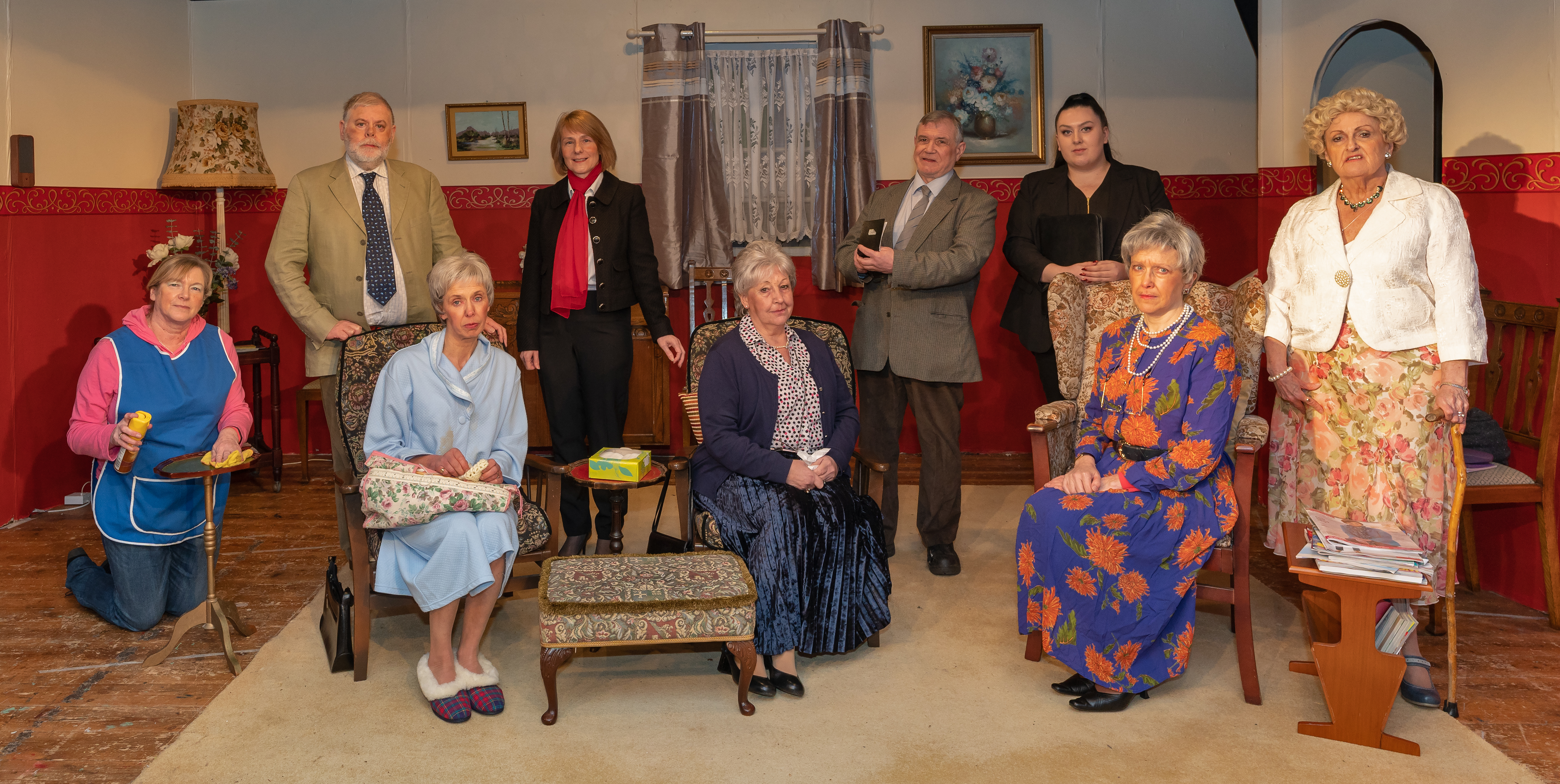 """This is the cast of the Theatre company LADS  murder mystery show in two acts called """"Annie, One, Two, Three"""" by David Summers.  The cast are, Martha - Anne McMullen, Mary - Charlotte Mountain, Miriam - Estelle Buchanan, Alison - Bery Duncan, Eric - Douglas Clark, Patricia - Alison Miller, Det Inspector Williams - Stewart Friendship, Det Constable Marsham - Sasha Richards and Ruby Penrose - Lynda Bates."""