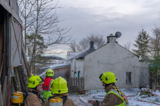 The fire at the Farm Cottage Fire near Newmill, Moray.