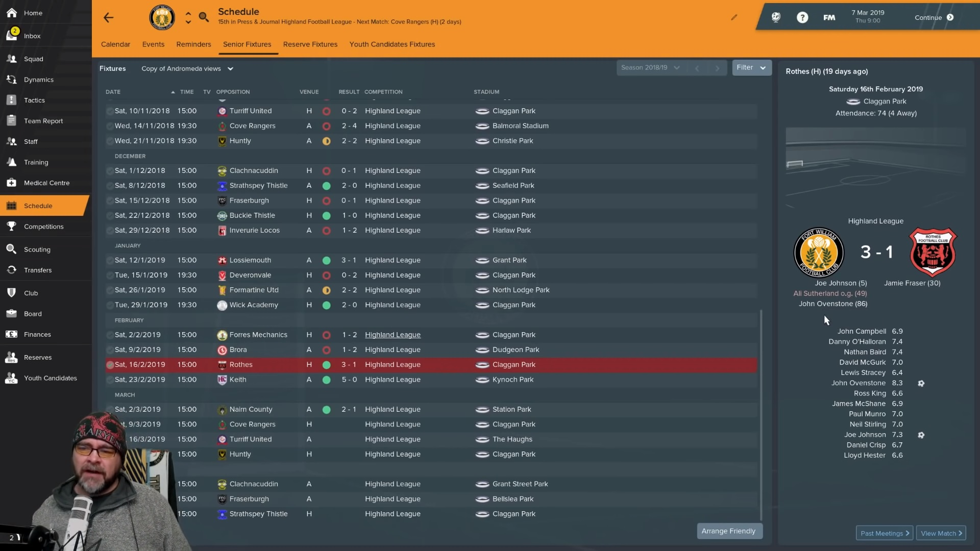 Jon Cox has taken Fort William into League 1 on popular computer game Football Manager.