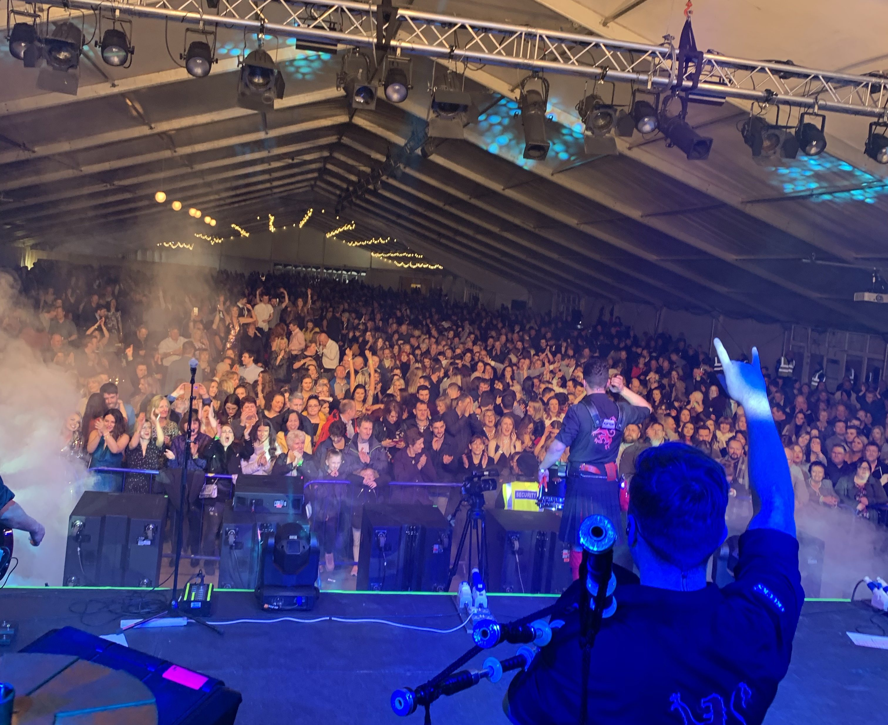 The Red Hot Chili Pipers entertain revellers at the first-ever Hogmanay at the Haughs in Turriff