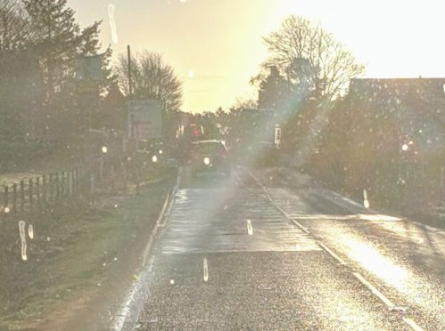 The scene of the incident on the A947.