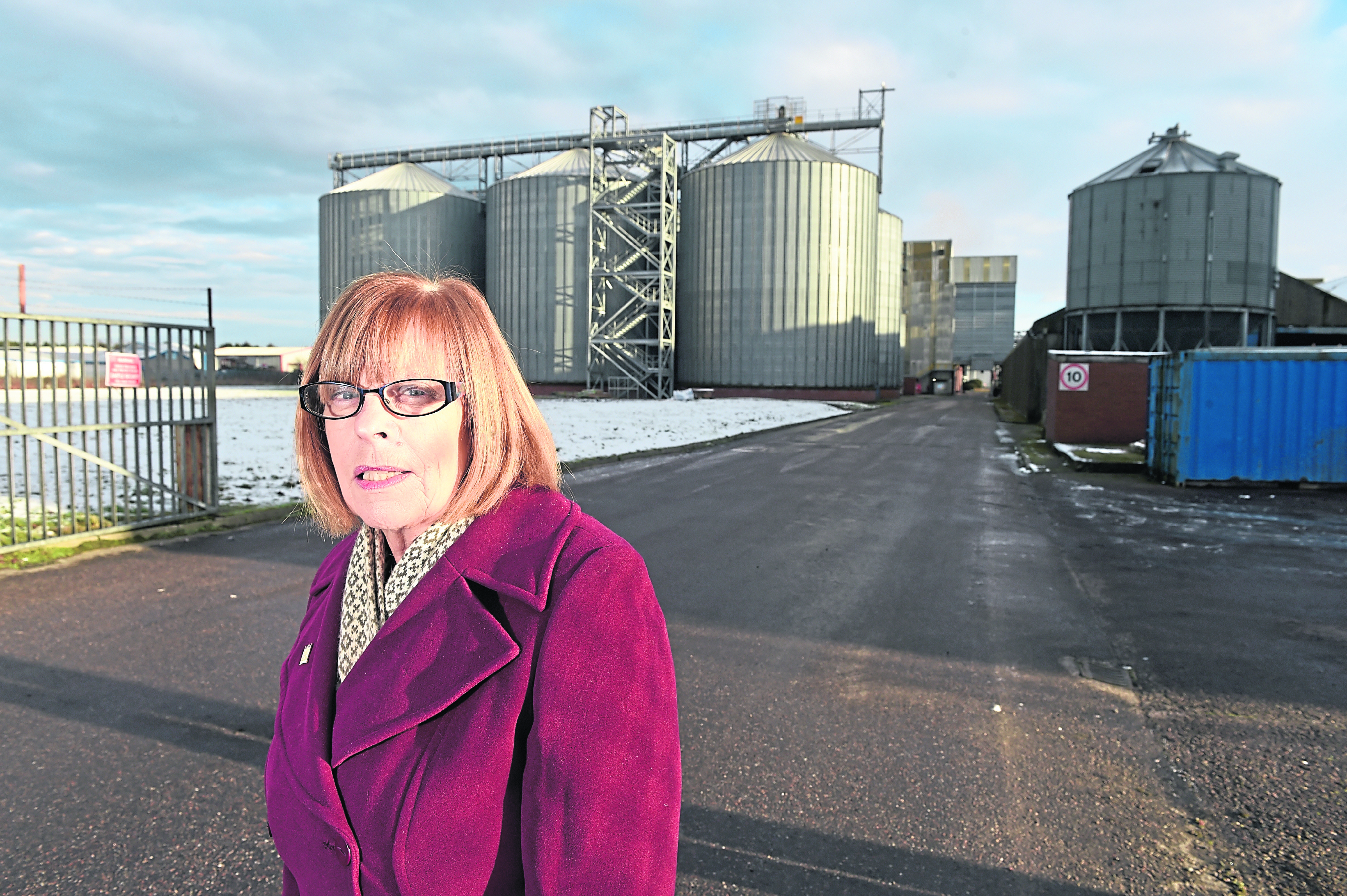 Bet McAllister outside the Baird's Malt works in Inverness,  which is to be greatly extended creating more jobs. Picture by Sandy McCook.