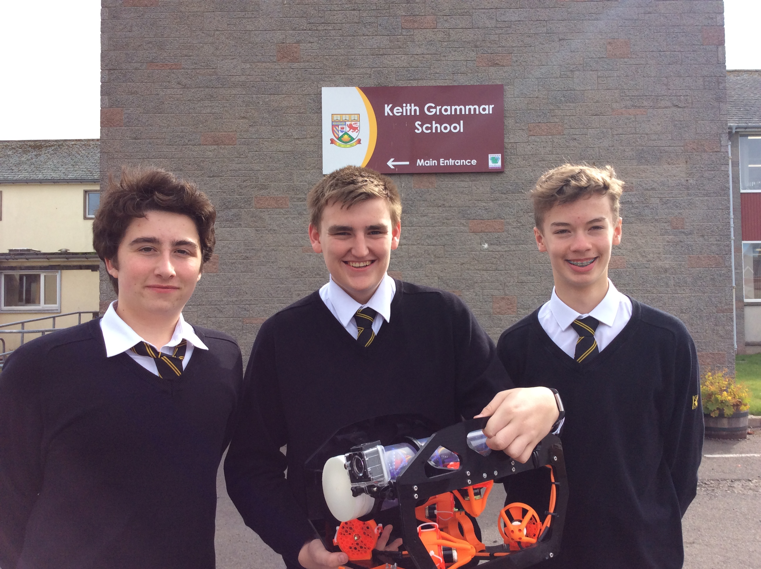 Lewis Roger, Tom Watson, Jamie Herd from Keith Grammar School with their ROV