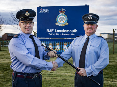 Pictured here is Station Warrent Officer Milligan handing over his duties to the new Station Warrent Officer, WO Radcliffe