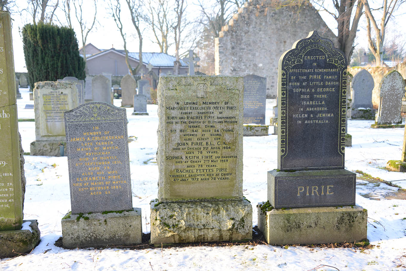 A poignant memorial to missionary Meta Pirie is in Ruthven Kirkyard.