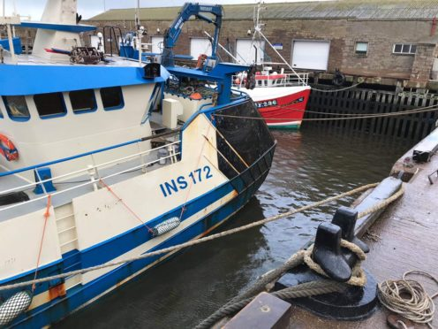 A ship mooring ropes broke and the ship nearly tipped onto its side at Macduff Harbour