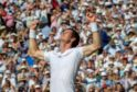 Sheer delight on the face of Andy Murray after clinching a straight sets victory over Novak Djokovic to win Wimbledon
