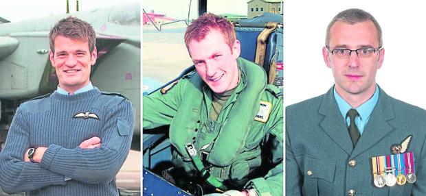 Flight Lieutenant Hywel Poole (left), Flight Lieutenant Adam Sanders (centre) and Squadron Leader Samuel Bailey.