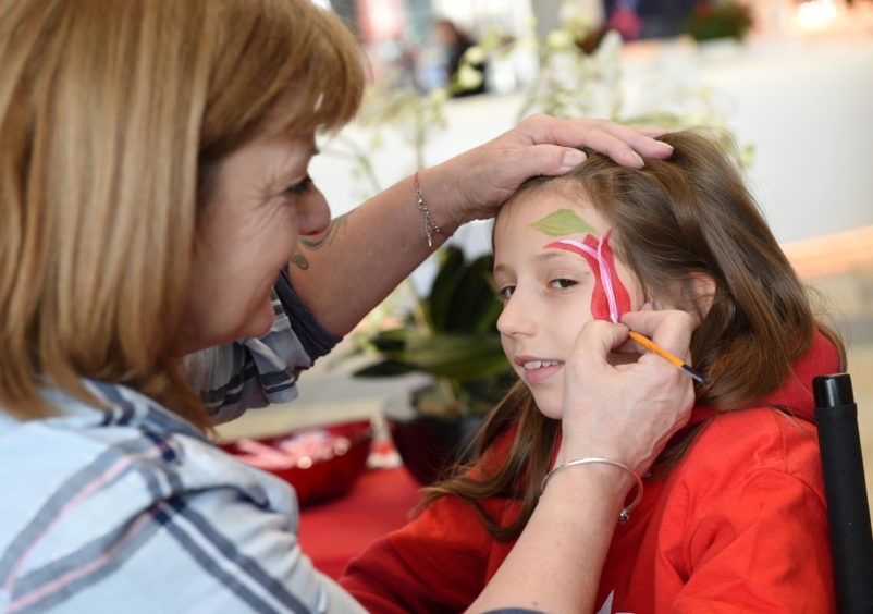 Freya Bruce, 10 getting her face painted at Union Square, Aberdeen.