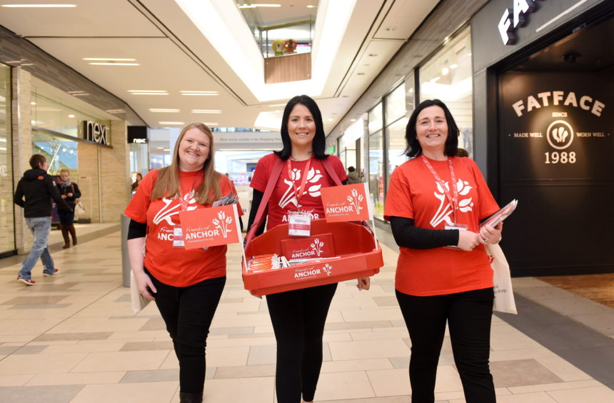 fundraisers from left, Gillian Murray, Sam Wright and Donna Miller at Union Square, Aberdeen.