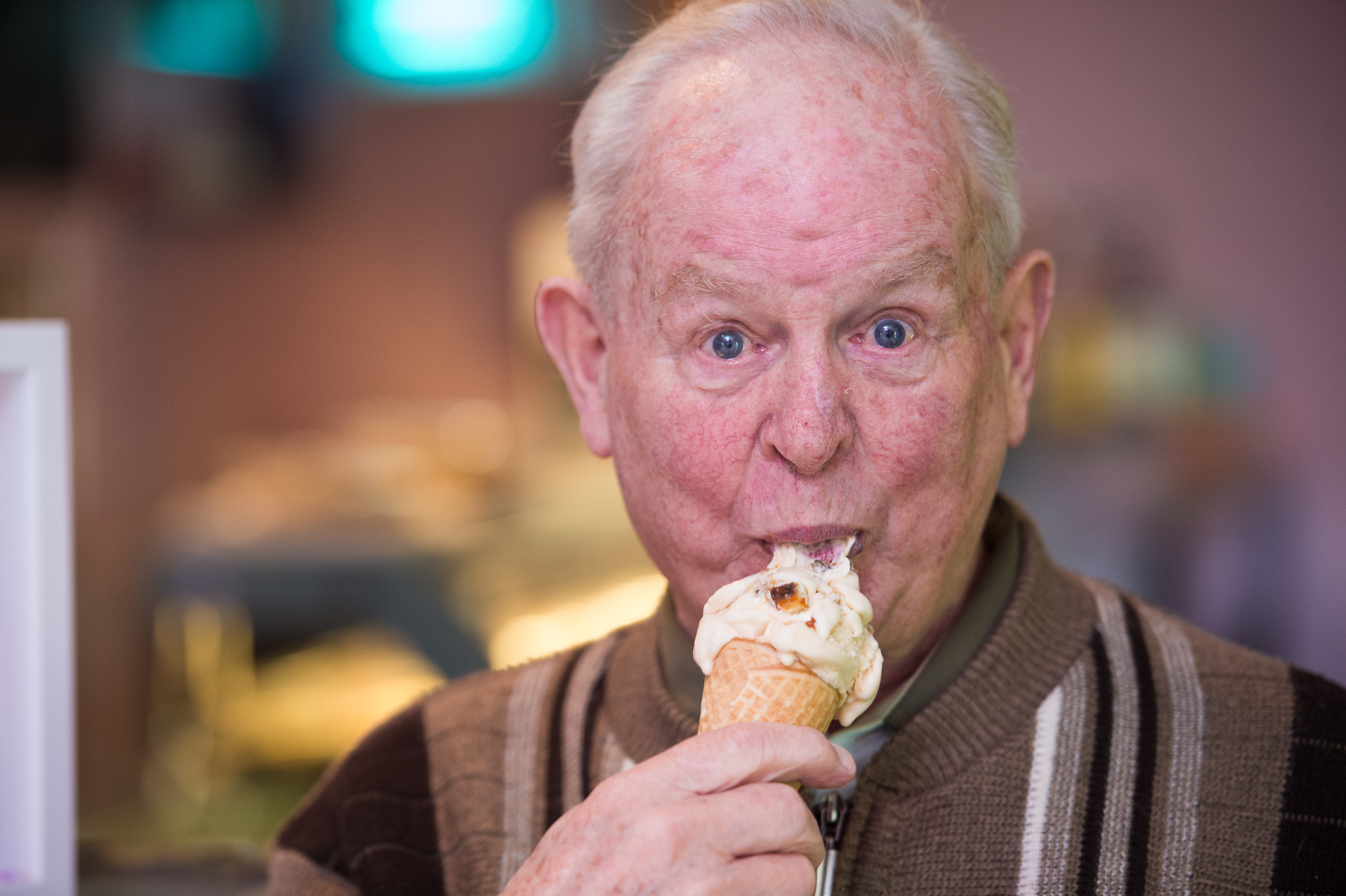 Charlie Armour from Fochabers tries the new ice cream. Picture by Jason Hedges