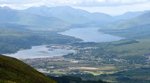 Fort William, Loch Linnhe (left) with the village of Caol and then Loch Eil in the distance.