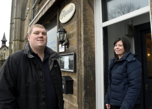 Chef and owner Paul McBain photographed alongside his wife Corinna outside their new restaurant McBains by the River on Bank Street, Inverness. Picture by Sandy McCook