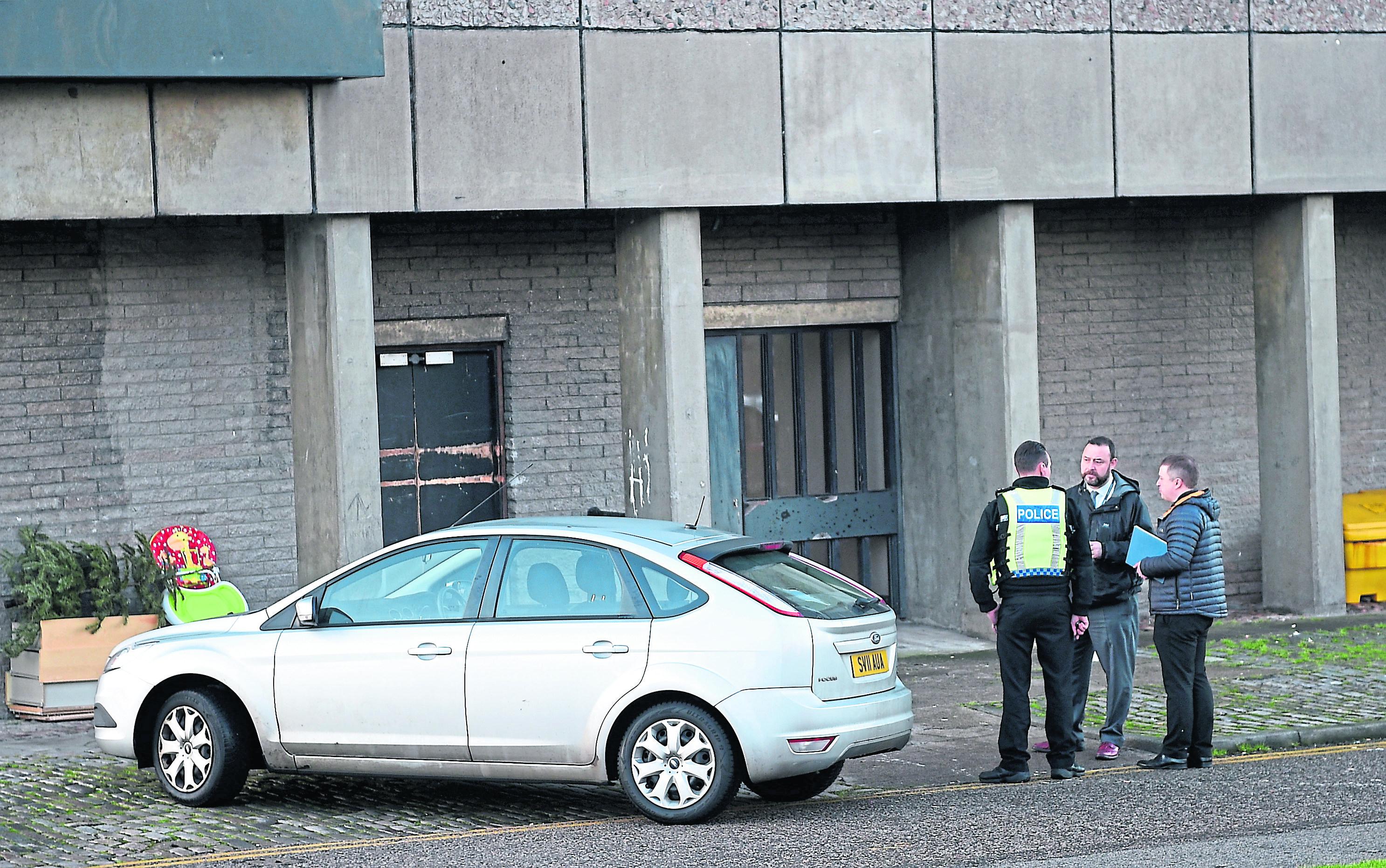 Police attending an incident at Donside Court, Tillydrone, Aberdeen.